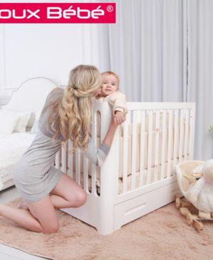 تخت کنار مادر دوکس ب ب با تنظیم ارتفاع و درب اسانسوری|تخت بغل مادر doux bebe|سیسمونی نوزاد در مشهد|سیسمونی نوزاد بارنی|تخت چوبی|تخت بغل مادر|تخت کنار مادر|
